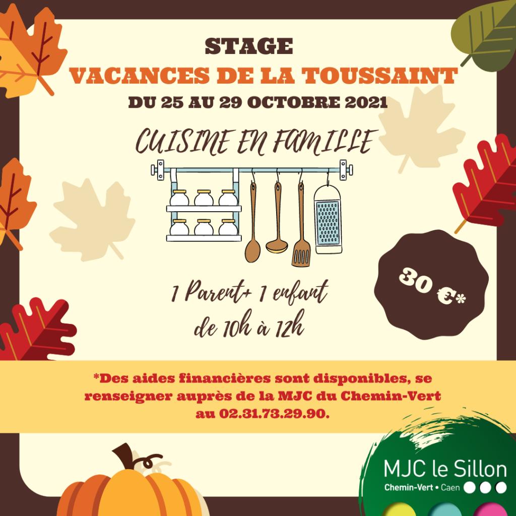 Stage cuisine en famille parents et enfants à la MJC du Chemin-vert, du 25 au 29 octobre.