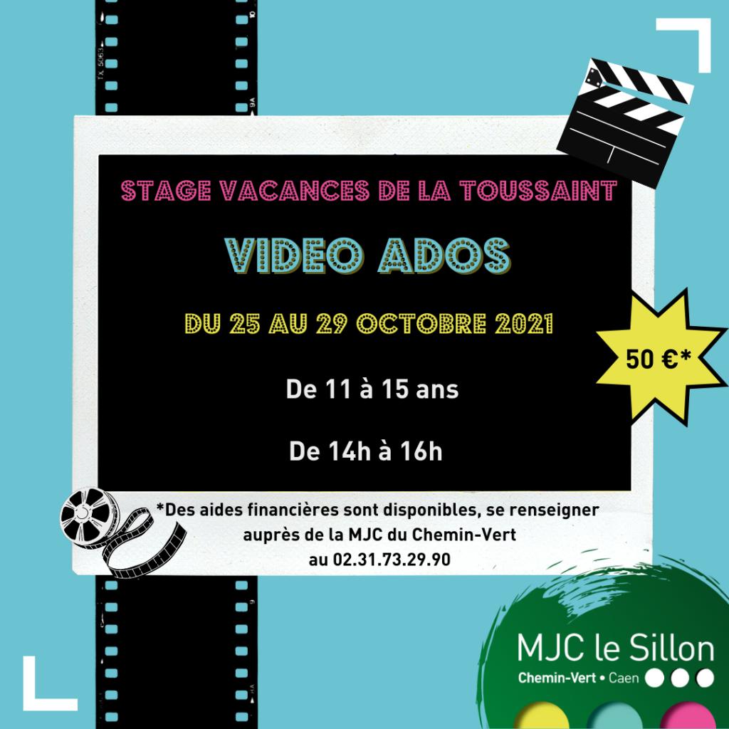 stage vidéos ados, pour les adolescents de 11 à 15 ans, du 25 au 29 octobre à la MJC du Chemin-vert de Caen