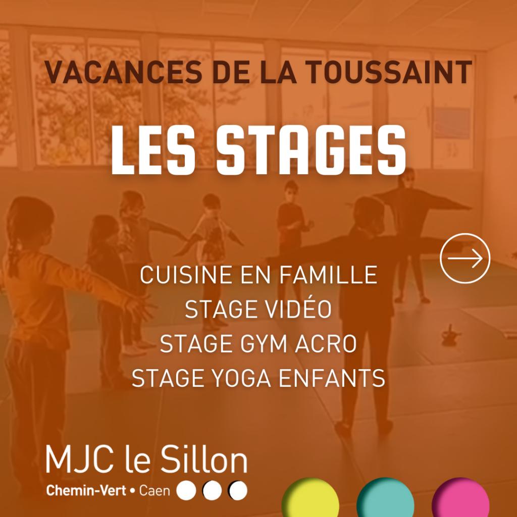 Découvrez les stages porposés à la MJC pendant les vacances de la toussaint : cuisine en famille, stage vidéo, gym acro et yoga enfants.